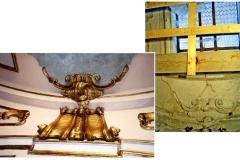 particolare dorato della volta 1^ e dopo il restauro011